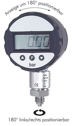 Digital pressure gauges with battery, class 0.5