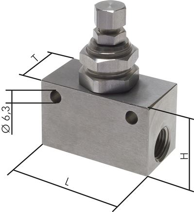 One-way control valves / choke valves made of stainless steel, Eco-Line