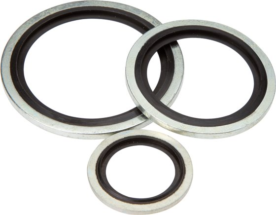 Hydraulic gaskets with elastomer inserts (self-centring)