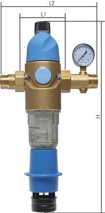 Backwash filters with pressure reducer for drinking water, PN 16
