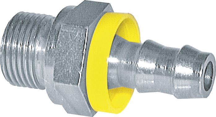 Push-in fitting with male thread, metric thread, 24° cone