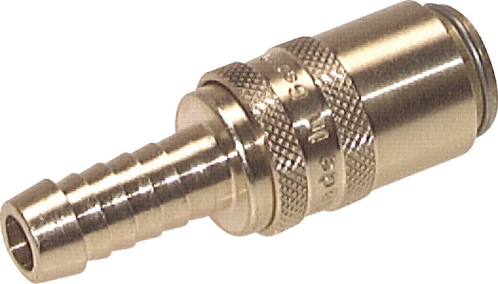 Coupling sockets, straight hose screw connection, DN 6 (9 mm spigot)