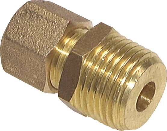 Straight screwed connections with conical male thread