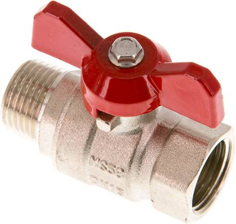 "Brass ball valve, Eco-Line, R / Rp 1/2"" (male thread / female thread), PN 25 (KH 12 B IA E-KN)"
