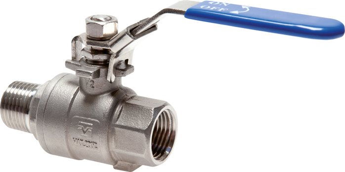 Stainless steel screw in ball valves 2-part, lightweight design, with full throughway, PN 63 (Eco-Line)