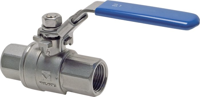 Stainless steel ball valves, 2-part, with full throughway, PN 63 (Eco-line)