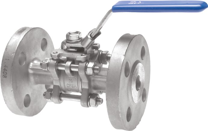 Stainless steel flanged ball valves, 3-piece, full bore, PN 16/40