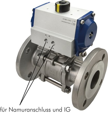 Stainless steel flanged ball valves, 3-piece, with pneumatic rotary actuator, PN 16/40