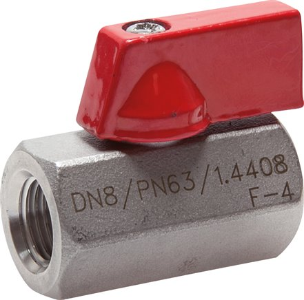 Stainless steel mini-ball valves with toggle grip on one side, PN 63 (Eco-line)