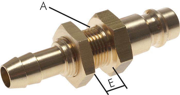 coupling plug with hose screw connection & bulkhead thread, NW 7.2