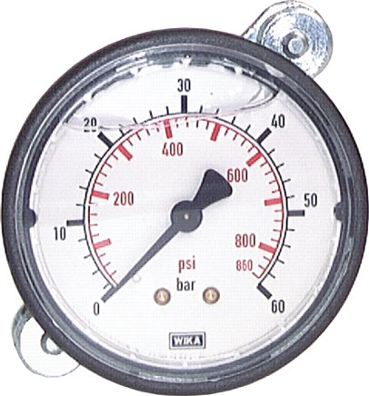 Glycerine built-in pressure gauge with plastic front ring Ø 63 mm, Class 2.5 (will be discontinued)