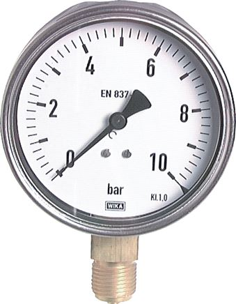 Manometer senkrecht Ø 100 mm Chromnickelstahl/Messing, Robust, Klasse 1.0