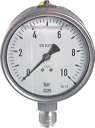 Glycerine pressure gauges vertical Ø 100 mm, stainless steel  - chemical, Class 1,0