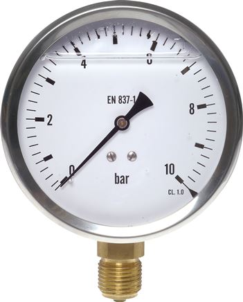 Glycerinmanometer senkrecht Ø 100 mm Chromnickelstahl / Messing, Eco-Line