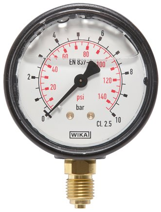 Glycerine pressure gauge, vertical (KU/Ms), 63mm, -1 do 0 bar (MS -163 GLY)