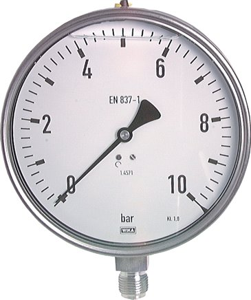 Glycerine pressure gauges vertical Ø 160 mm, stainless steel  - chemical, Class 1,0