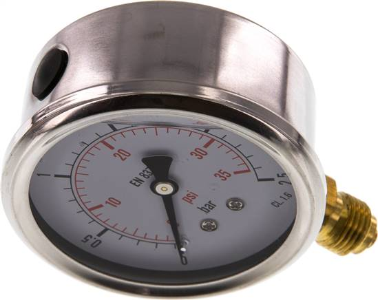 Glycerin-Manometer senkrecht (CrNi/Ms), 63mm, 0 - 2,5 bar (MS 2,563 GLY CRE)