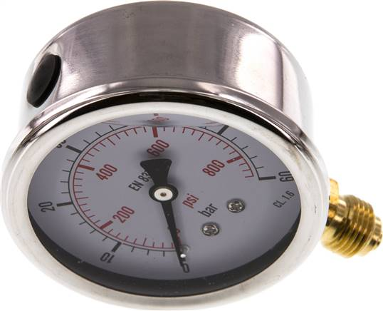 Glycerin-Manometer senkrecht (CrNi/Ms), 63mm, 0 - 60 bar (MS 6063 GLY CRE)