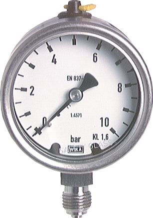 Pressure gauge, vertical, Ø 63 mm, for chemicals, Class 1.6
