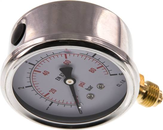 Glycerin-Manometer senkrecht (CrNi/Ms), 63mm, 0 - 6 bar (MS 663 GLY CRE)
