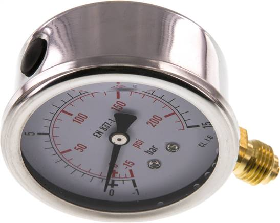Glycerin-Manometer senkrecht (CrNi/Ms), 63mm, -1 bis 15 bar (MS -11563 GLY CRE)