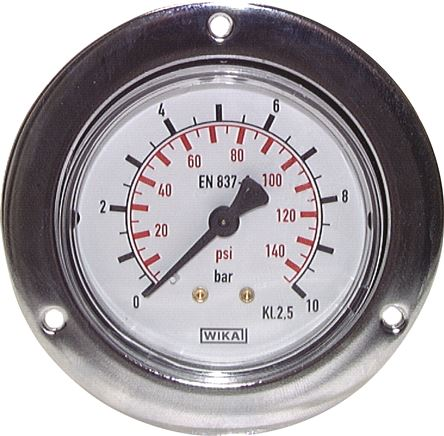 Built-in pressure gauge with large front ring for panel mounting, Class 2.5