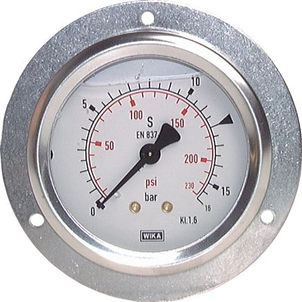 Glycerine built-in pressure gauge with large front ring for panel mounting, Class 1.6 / 1.0