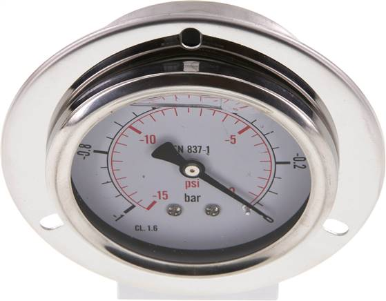Glycerin-Einbaumanometer,Front-ring, 63mm, -1 bis 0 bar (MSE -163 GLY CRE)
