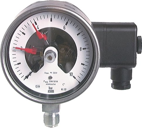 Stainless steel safety contact pressure gauge, vertical, Ø 100 mm-Class 1.0