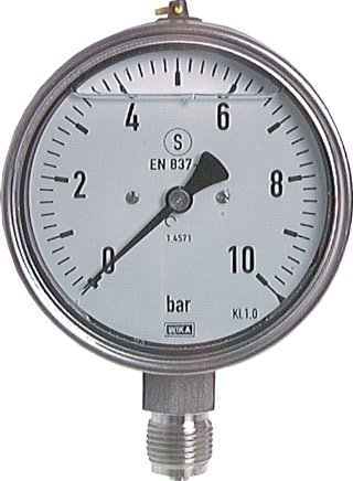Glycerine safety pressure gauges vertical Ø 100 mm, stainless steel, Class 1,0