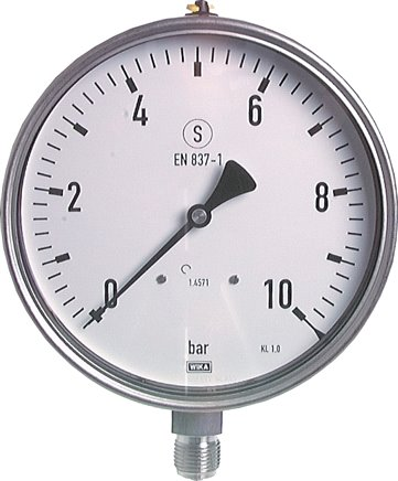 Safety pressure gauges vertical Ø 160 mm, stainless steel, Class 1,0
