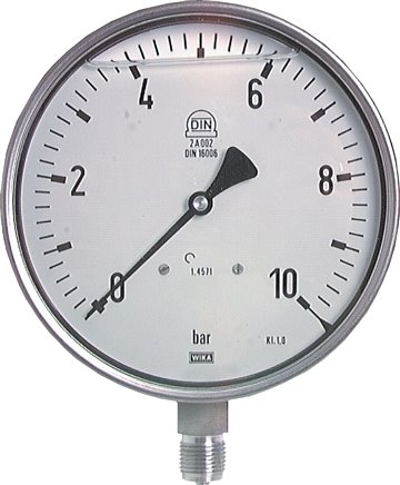Glycerine safety pressure gauges vertical Ø 160 mm, stainless steel, Class 1,0