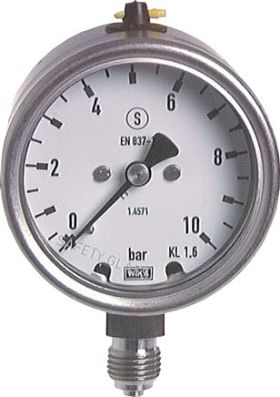 Safety pressure gauges vertical Ø 63 mm, stainless steel, Class 1,6