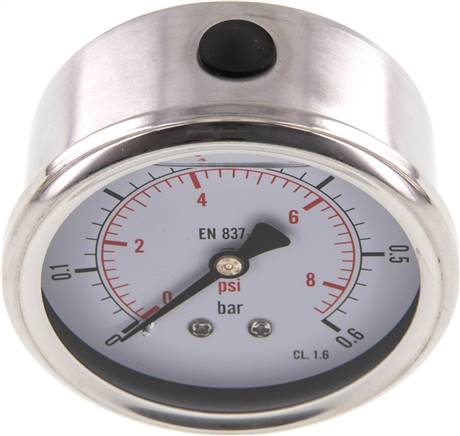 Glycerin-Manometer waagerecht (CrNi/Ms),63mm, 0 - 0,6bar (MW 0663 GLY CRE)