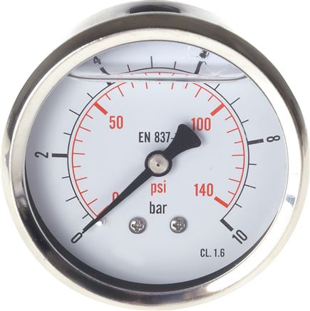 Glycerin-Manometer waagerecht (CrNi/Ms),63mm, -1 bis 0bar (MW -163 GLY CRE)