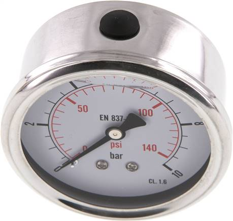 Glycerin-Manometer waagerecht (CrNi/Ms),63mm, 0 - 10bar (MW 1063 GLY CRE)