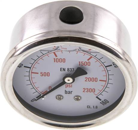 Glycerin-Manometer waagerecht (CrNi/Ms),63mm, 0 - 160bar (MW 16063 GLY CRE)