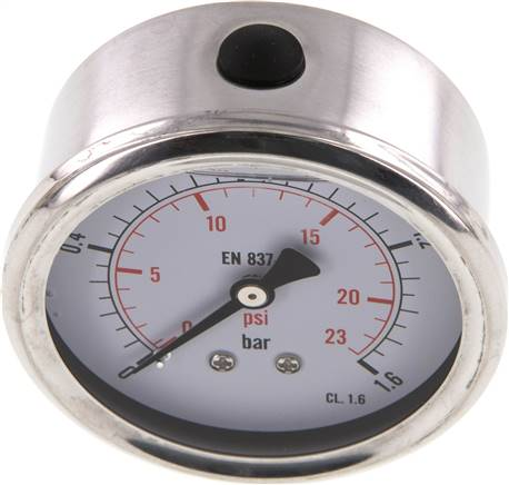 Glycerin-Manometer waagerecht (CrNi/Ms),63mm, 0 - 1,6bar (MW 1,663 GLY CRE)