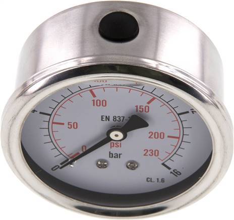 Glycerin-Manometer waagerecht (CrNi/Ms),63mm, 0 - 16bar (MW 1663 GLY CRE)