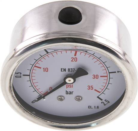 Glycerin-Manometer waagerecht (CrNi/Ms),63mm, 0 - 2,5bar (MW 2,563 GLY CRE)
