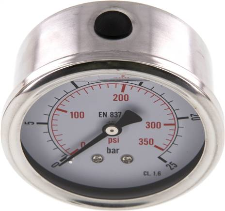 Glycerin-Manometer waagerecht (CrNi/Ms),63mm, 0 - 25bar (MW 2563 GLY CRE)