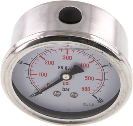 Glycerin-Manometer waagerecht (CrNi/Ms),63mm, 0 - 40bar (MW 4063 GLY CRE)