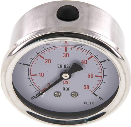 Glycerin-Manometer waagerecht (CrNi/Ms),63mm, 0 - 4bar (MW 463 GLY CRE)