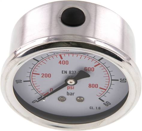 Glycerin-Manometer waagerecht (CrNi/Ms),63mm, 0 - 60bar (MW 6063 GLY CRE)
