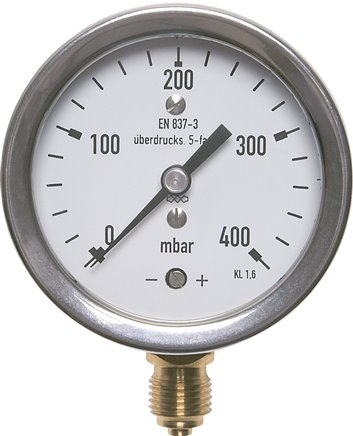 Pressure gauges with vertical capsule element, up to 10x overload capacity, robust, mbar