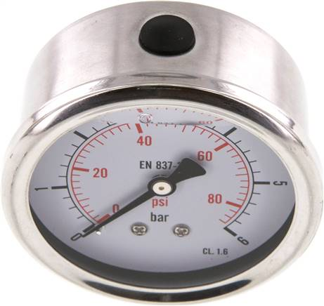Glycerin-Manometer waagerecht (CrNi/Ms),63mm, 0 - 6bar (MW 663 GLY CRE)