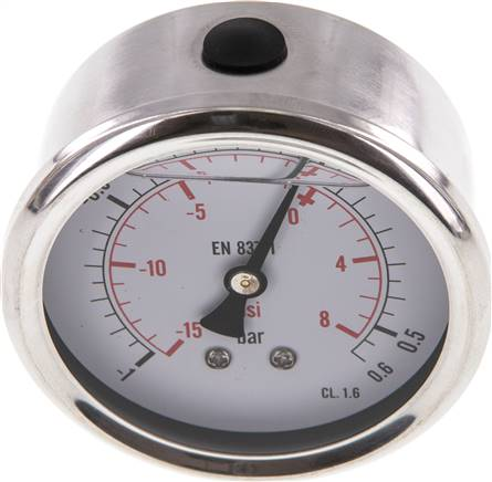 Glycerin-Manometer waagerecht (CrNi/Ms),63mm, -1 bis 0,6bar (MW -10,663 GLY CRE)