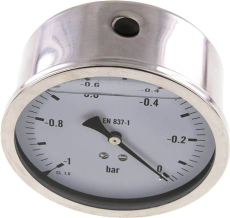 Glycerin-Manometer waagerecht (CrNi/Ms),100mm, -1 bis 0bar (MW -1100 GLY CRE)