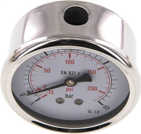 Glycerin-Manometer waagerecht (CrNi/Ms),63mm, -1 bis 15bar (MW -11563 GLY CRE)