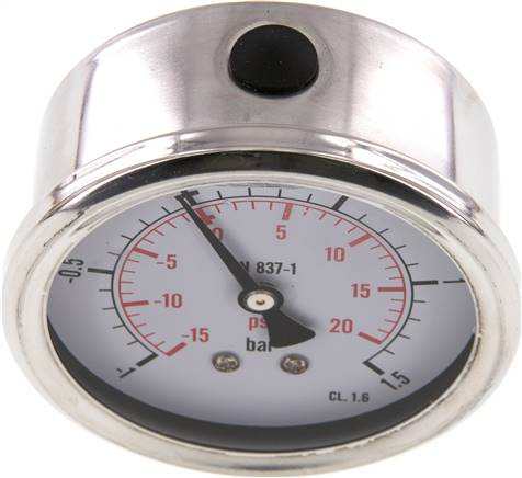 Glycerin-Manometer waagerecht (CrNi/Ms),63mm, -1 bis 1,5bar (MW -11,563 GLY CRE)